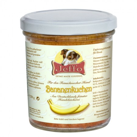 fresh baked banana cake in a jar for dogs made by Jeffo