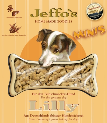 Lilly is the perfect reward for your four-legged friend. Lilly are grain- and gluten-free cookies, enhanced with poultry liver.