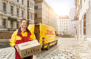 Jeffo is shipping worldwide with DHL